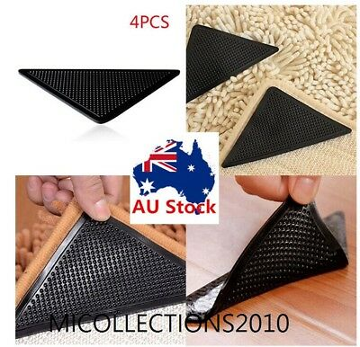 4PCS Anti-Slip Rubber Floor Washable Carpet Mat Rug Gripper Stopper Tape Sticker