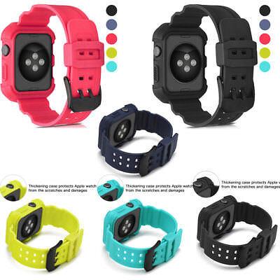 For Apple Watch 38-42mm123 Series Silicone Replacement Band Wrist Sport Strap