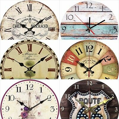 """Wall Clock Wooden Round 12"""" Vintage Art Style Home Room Decor Gift Idea New"""