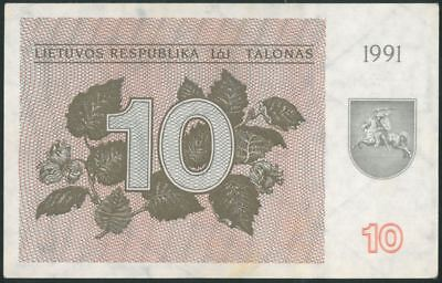 LITHUANIA 10 Talonu (1991) AU banknote WITHOUT TEXT RARE