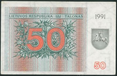 LITHUANIA 50 Talonu (1991) aUNC banknote WITHOUT TEXT