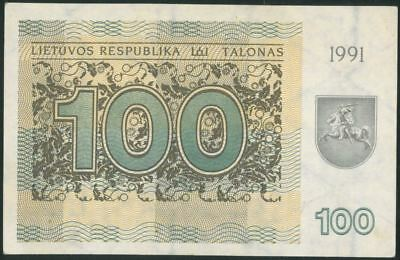 LITHUANIA 100 Talonu (1991) aUNC banknote WITHOUT TEXT