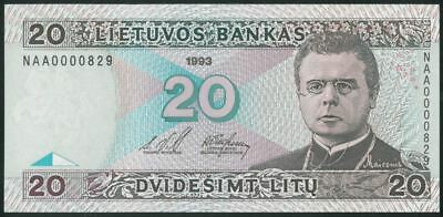 LITHUANIA 20 Litu (1993) UNC banknote First Seria NAA Low Number 000829