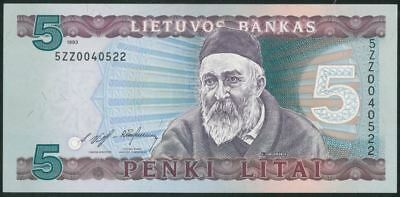 LITHUANIA 5 Litai (1993) Litas UNC banknote REPLACEMENT VERY RARE ITEM