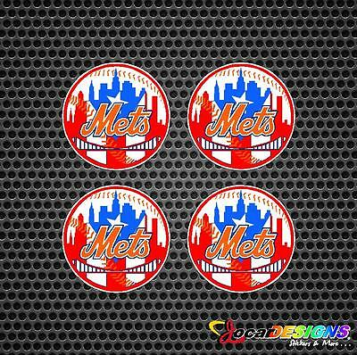 4x NEW YORK METS WITH PUERTO RICO RICAN FLAG IN BACKGROUD VINYL STICKERS