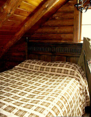 19th c. Wool Overshot Coverlet in Scarce Gingery Brown and Soft Oatmeal