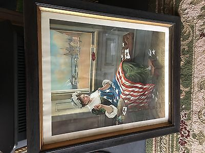 RARE! Horlacher Beer Advertising Chromolithograph From 1909 Patriotic Betsy Ross