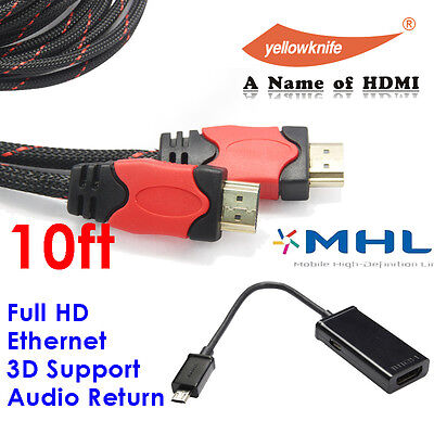 MHL to HDMI Adapter for Samsung Galaxy S3/S4+10FT HDMI1.4v Cable with Ethernet