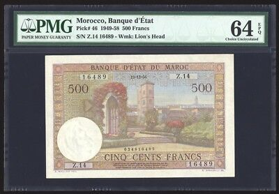 Morocco 500 Francs P46 PMG Choice Uncirculated 64 EPQ