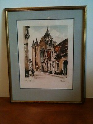Beautiful color etching of Bruges...Belin is HEBBELINCK Roger.