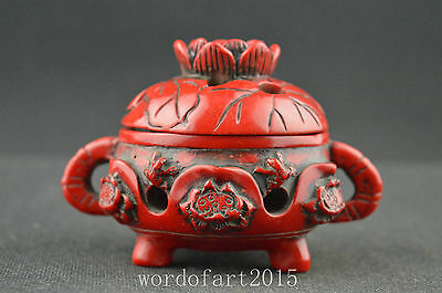 China collectible old resin handwork carved frog lotus leaf exquisite censer