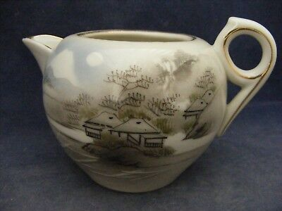 """Japanese Hand Painted Cream Pitcher 3"""" Tall"""
