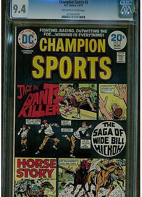 Champion Sports #3 Cgc 9.4 Near Mint Dc Comics 1974 Off White To White Pages
