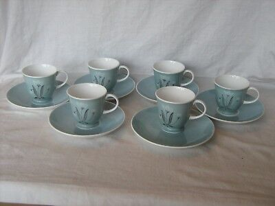 Susie Cooper bone china set 6 cups and saucers duck egg blue and flower design