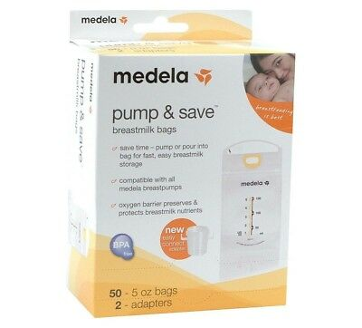 Medela Pump & Save Breastmilk Bags 50 Ct - Includes 2 Easy Connect Adapters 🍼