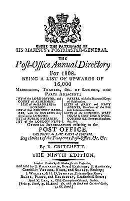 Post Office Annual Directory (London) 1808 on pdf DVD