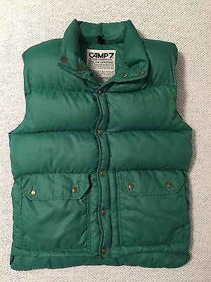 Vintage Camp 7 M Boulder Colorado Goose Down Puffer Vest Green Cotton Insulated