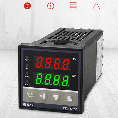 REX-C100 Digital PID Temperature Controller Regulator K Thermocouple 40A SSR NEW