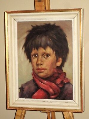 MAYER 1950's/60's Oil Painting Vintage Portrait of Boy / Street Urchin *£10 OFF*