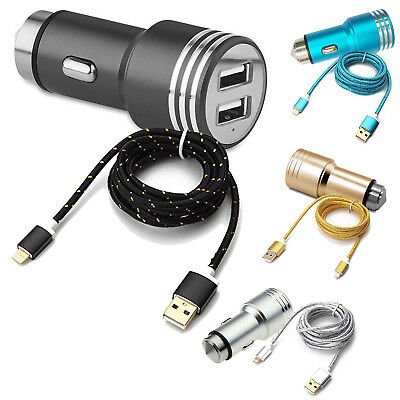 Chargeur Voiture Allume Cigare Double Usb 3A + Cable Chargeur Iphone 5 6 7 8 X