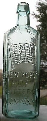 New York Hop Bitters W/ American Flag Gloppy Applied Top, Nice Color, Quack Med.