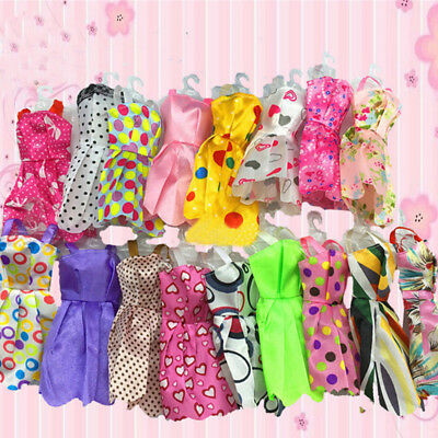 10 pcs  Beautiful Handmade Party Clothes Fashion Dress for Barbie Doll FH