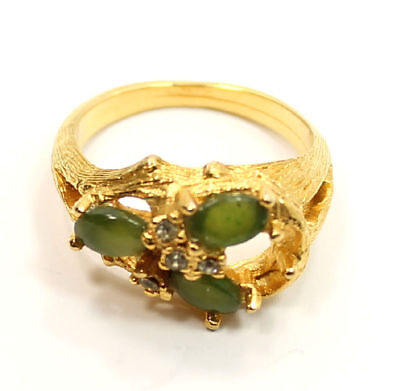 Stylish Jade & Crystal Gold Tone Estate Ring Size 8