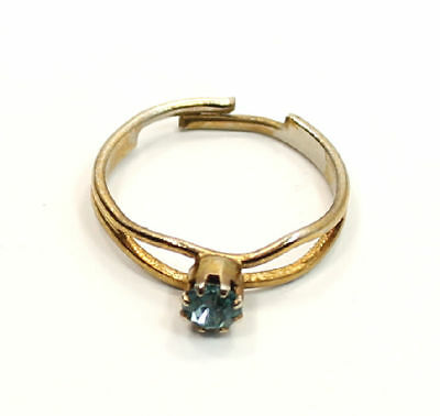 Round Blue Spinel Design Gold Tone Estate Ring Size 5 (adjustable)