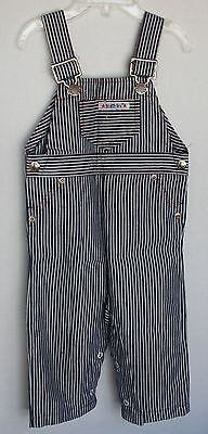 VINTAGE 1970s HEALTH TEX Striped Overalls 12 months Infant Boy Red Stitching