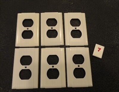 6 Ivory Vtg Bakelite Ribbed Deco Single Gang Hubbell Outlet Plate Covers R7