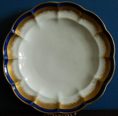 """Art Deco George Jones Side 8"""" plate with gilt feathered edge and royal blue band"""
