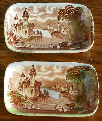 A pair of Art Deco hand coloured pin dishes by Maling [6532] [imperfect]
