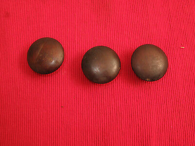 "Set Of 3 Antique Wood Drawer Pulls Knobs Button Mahogany Cherry 2"" D Q25"