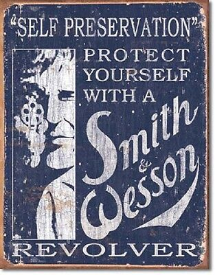 Smith & Wesson Self Preservation Metal Tin Sign Free Shipping