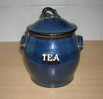 Bhs Brecon Blue Lidded Tea Storage Jar
