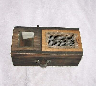 primitive QUEEN BEE CARRIER BOX for HONEY APIARY famining, unusual view angles