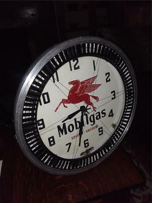 Vintage Neon Products Npi Mobil Oil Neon Spinner Clock  ..pegasus Logo