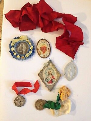 Vintage Religious medals medallions LOT necklace rosary Holy Catholic antique #2