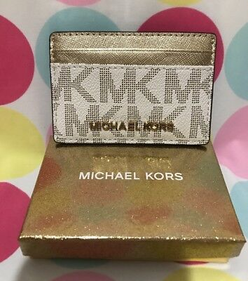 NEW Michael Kors  PVC/ Leather Jet Set Travel Card Case Card Holder  $68 Giftbox