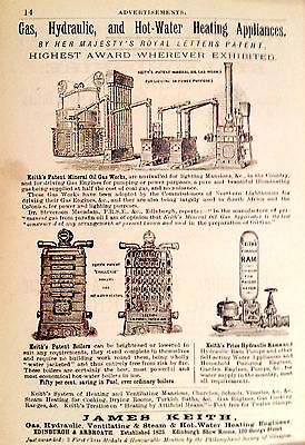 """Vintage Advertisement 1882 GAS, HYDRAULIC, HOT WATER HEAT Engineers matted 8x10"""""""