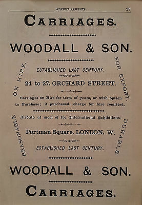 Horse drawn CARRIAGES For Hire, buggies - Woodall 1882 Vintage Advertisement