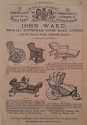 ANTIQUE WHEELCHAIRS vintage advertisement 1882 matted ORIGINAL, ready to frame