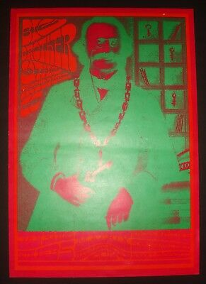 Vintage 1967 NEON ROSE POSTER NR-4-RP-2 JANIS JOPLIN BIG BROTHER Victor Moscoso