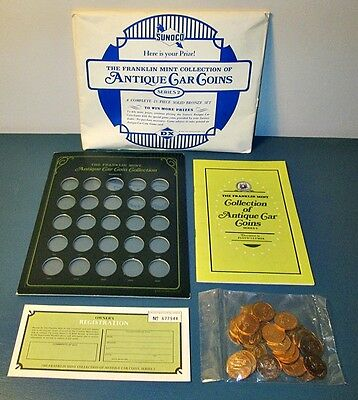 Franklin Mint / Sunoco Oil 25 Antique Car Coin Collection 1901-1925 Never Opened