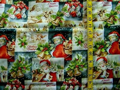 Merry Christmas Greetings Santa Patch 100% Cotton Fabric  By The 1/2 Yard