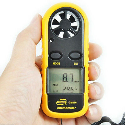 New Anemometer Thermometer Wind Speed Meter Weather Wind Speed Air Tool UK