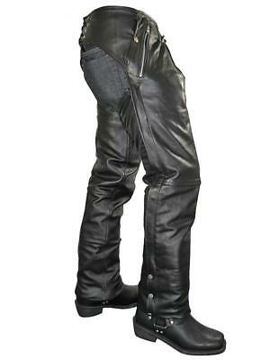 NEW MENS BLACK PREMIUM LEATHER 4 Pocket MOTORCYCLE SOFT COWHIDE CHAPS RETAIL$209