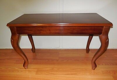 Vintage PIANO BENCH ~ Solid Wood w/ Queen Anne Legs, PIANO STOOL, Storage