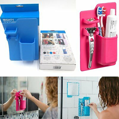 Hot Silicone Mighty Toothbrush Holder Razor Toothpaste Toiletry Storage Bathroom