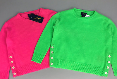 100% Cashmere Sweater POLO RALPH LAUREN Girl Neon Pink or Green 2T - 5T $285